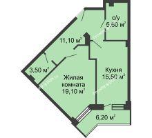 1 комнатная квартира 57,9 м², ЖК Крылья Ростова - планировка