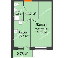 1 комнатная квартира 32,3 м² в ЖК Артемовский квартал, дом Секция 5 - планировка