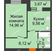 1 комнатная квартира 38,68 м² в ЖК БелПарк, дом 2 очередь - планировка