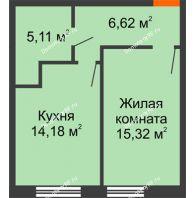 1 комнатная квартира 41,23 м², ЖК Две реки - планировка