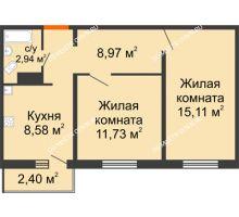 2 комнатная квартира 48,05 м² в ЖК Торпедо, дом № 17 - планировка