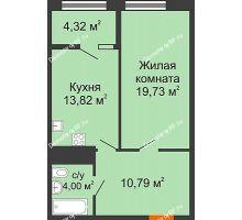 1 комнатная квартира 52,66 м² в ЖК СИТИДОМ, дом 4 очередь,корпус 3 - планировка
