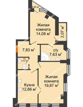 2 комнатная квартира 66,79 м² в ЖК Дом на Провиантской, дом № 12
