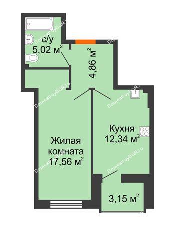 1 комнатная квартира 41,36 м² в ЖК Аврора, дом № 3
