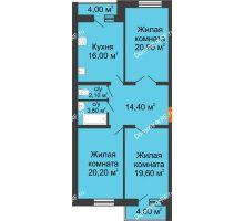 3 комнатная квартира 100,2 м² в ЖК Олимп, дом № 1 - планировка