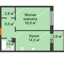 1 комнатная квартира 47 м² в ЖК Острова, дом 4 этап (второе пятно застройки) - планировка