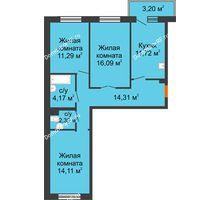 3 комнатная квартира 73,99 м² в ЖК Новый Академгородок, дом № 2 - планировка