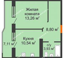 1 комнатная квартира 40,09 м² в ЖК Губернский, дом Литер 29 - планировка