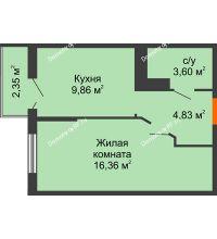 1 комнатная квартира 35,35 м² в ЖК Семейный парк, дом Литер 2 - планировка
