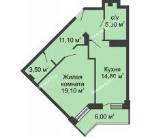 1 комнатная квартира 56,8 м², ЖК Крылья Ростова - планировка