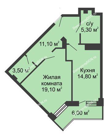 1 комнатная квартира 56,8 м² - ЖК Крылья Ростова