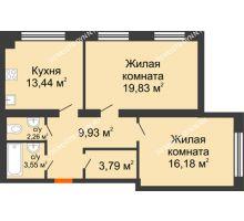 2 комнатная квартира 68,98 м², Клубный дом На Коммунистической - планировка