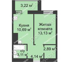 1 комнатная квартира 37,18 м² - ЖК Буревестник