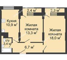 2 комнатная квартира 52,3 м², Жилой дом: ул. Сазанова, д. 15 - планировка