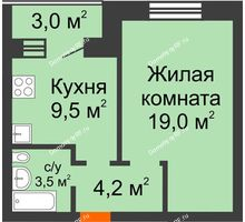 1 комнатная квартира 37,7 м² в ЖК Видный, дом № 2