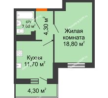 1 комнатная квартира 40,5 м² в ЖК Я, дом  Литер 2 - планировка