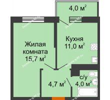 1 комнатная квартира 36,6 м² в ЖК Отражение, дом Литер 2.2 - планировка