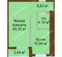 1 комнатная квартира 42,02 м² в ЖК Солнечный, дом № 1