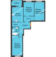 3 комнатная квартира 77,6 м² в ЖК Измаильский экоквартал, дом 1 этап - планировка