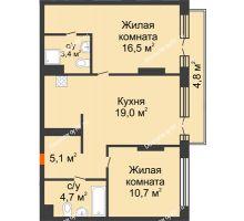 2 комнатная квартира 64,2 м² в Квартал Новин, дом 6 очередь ГП-6 - планировка