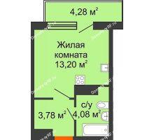Студия 23,2 м² в ЖК Светлоград, дом Литер 13 - планировка