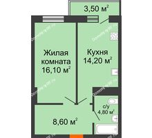 1 комнатная квартира 44,8 м² в ЖК Восточный парк, дом Литер 3 - планировка
