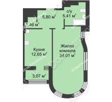1 комнатная квартира 51,03 м² в ЖК Караваиха, дом № 5 - планировка