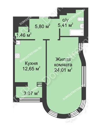 1 комнатная квартира 51,03 м² в ЖК Караваиха, дом № 5