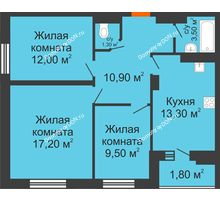 3 комнатная квартира 69,2 м² в ЖК Вересаево, дом Литер 13/1 - планировка