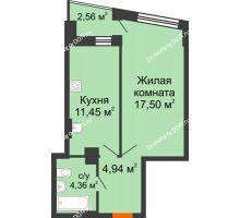 1 комнатная квартира 39,53 м² в ЖК Рубин, дом Литер 1 - планировка