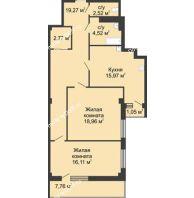 2 комнатная квартира 82,6 м² в  ЖК РИИЖТский Уют, дом Секция 1-2 - планировка