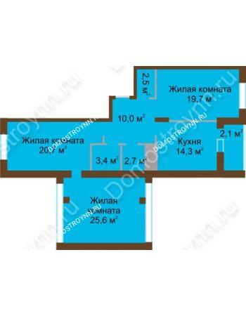 3 комнатная квартира 101 м² в ЖК Монолит, дом № 89, корп. 1, 2