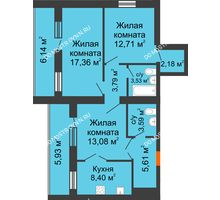 3 комнатная квартира 76,29 м² - ЖК Дом у озера