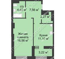 1 комнатная квартира 45,52 м² в ЖК Караваиха, дом № 5 - планировка