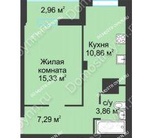 1 комнатная квартира 40,3 м² в ЖК На Вятской, дом № 3 (по генплану)