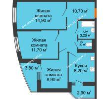 3 комнатная квартира 62 м² в ЖК Вересаево, дом Литер 11 - планировка
