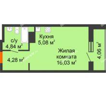 Студия 34,29 м² в ЖК Рассвет, дом №4 - планировка