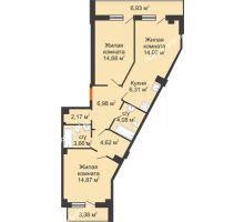 2 комнатная квартира 76,54 м², Клубный дом ГРАН-ПРИ - планировка