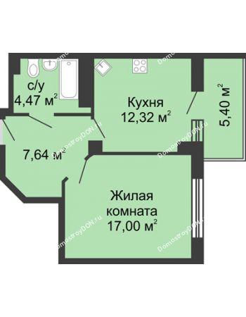 1 комнатная квартира 43,05 м² в ЖК Мега, дом № 2