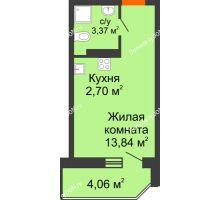 Студия 21,34 м² в ЖК Свобода, дом №2 - планировка