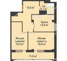 2 комнатная квартира 71,3 м² в ЖК Квартет, дом № 3 - планировка