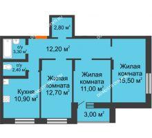 3 комнатная квартира 73,8 м² в ЖК Подкова на Цветочной, дом № 8 - планировка