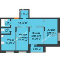3 комнатная квартира 73,8 м² в ЖК Подкова на Цветочной, дом № 9 - планировка