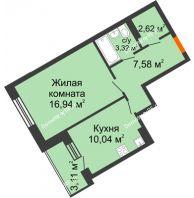 1 комнатная квартира 42,05 м², Жилой дом Кислород - планировка