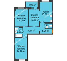 3 комнатная квартира 74,29 м² в ЖК Дом с террасами, дом № 6 - планировка