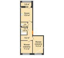 2 комнатная квартира 55,4 м² в ЖК Цветы 2, дом № 7 - планировка