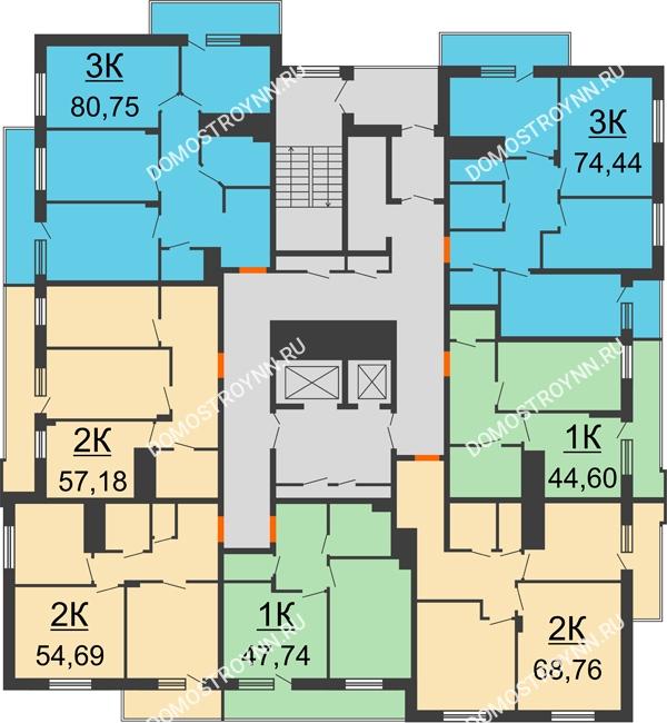 Планировка 12 этажа в доме № 6 в ЖК Циолковский
