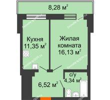 1 комнатная квартира 40,82 м² в ЖК Встреча, дом № 1 - планировка