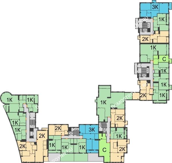 Планировка 4 этажа в доме № 1 в ЖК Renaissance (Ренессанс)