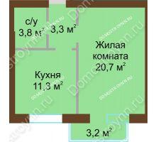 1 комнатная квартира 40,45 м² - Жилой дом: ул. Дворовая д. 30